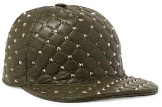 Valentino Rockstud Quilted Leather Baseball Cap - Green