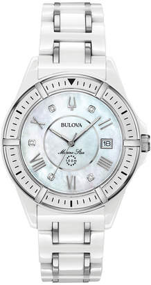 Zales Ladies' Bulova Marine Star Diamond Accent Ceramic and Stainless Steel Watch with Mother-of-Pearl Dial (Model: 98P172)