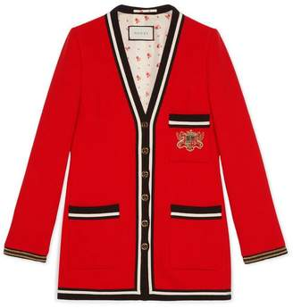 Gucci Wool sablé jacket with crest appliqué