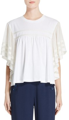 Women's Chloe Ruffle Sleeve Top $795 thestylecure.com
