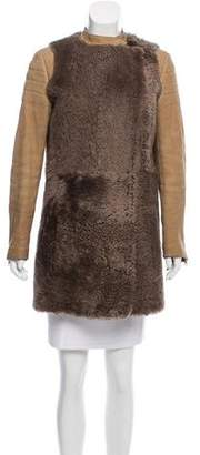 Celine Shearling Collarless Coat