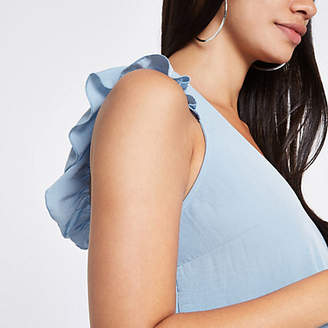 River Island Blue frill shoulder and back sleeveless top