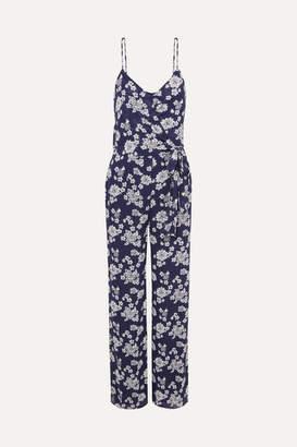 MICHAEL Michael Kors Tossed Floral-print Georgette Jumpsuit - Navy