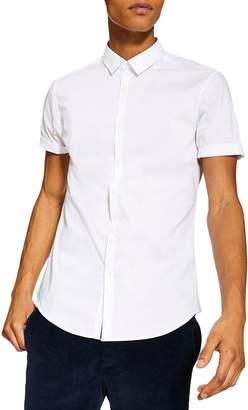 Topman Skinny-Fit Stretch Short-Sleeve Shirt