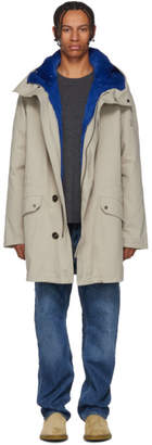 Yves Salomon Beige and Blue Fur-Lined Parka