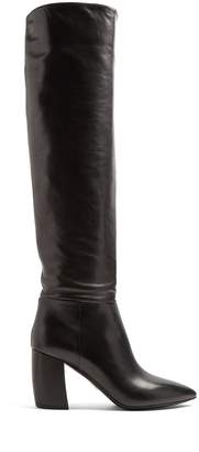 Prada Point-toe leather knee-high boots