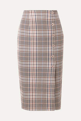 Veronica Beard Melor Checked Cotton-blend Midi Skirt - Brown