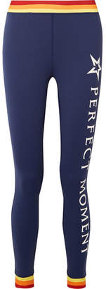Perfect Moment Printed Stretch Leggings - Navy