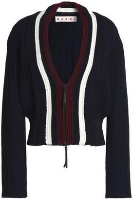 Marni Color-Block Ribbed-Knit Wool-Blend Cardigan