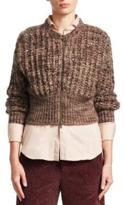 Brunello Cucinelli Knit Cashmere& Silk Cropped Cardigan