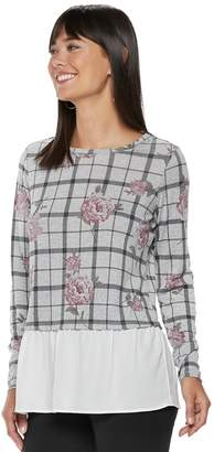 Elle Women's Floral Grid Mock-Layer Top