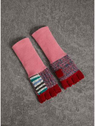 Burberry Wool Cashmere Patchwork Fingerless Gloves