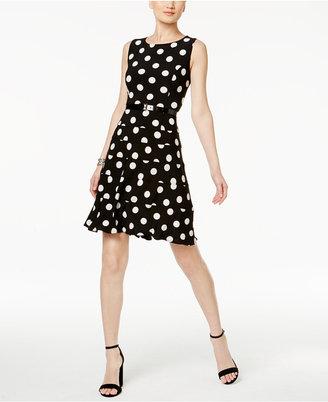 Tommy Hilfiger Belted Polka-Dot A-line Dress $99 thestylecure.com