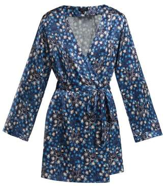 Morgan Lane - Langley Dandelion Print Silk Robe - Womens - Navy Print