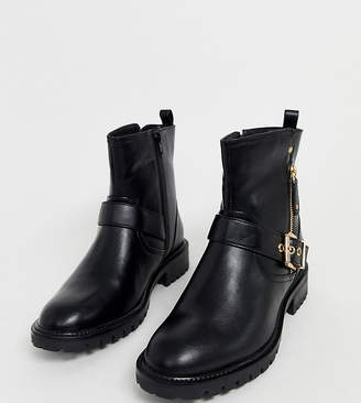 Simply Be Extra Wide Fit Simply Be extra wide fit biker boot in black with buckle detail