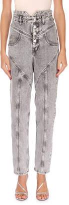 Isabel Marant Rei High-Waist Straight-Leg Acid Wash Jeans