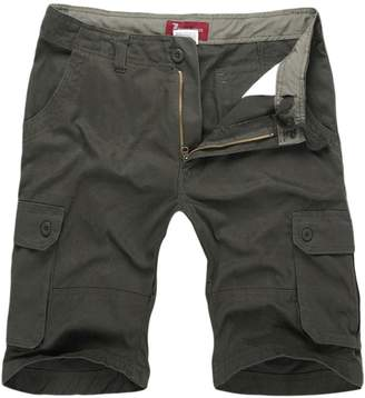 NiSeng Men's Big-Tall Loose Fit Six Pocket Belted Twill Cargo Shorts