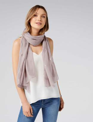 Forever New Katia Foil Feather Scarf - Camel - 00