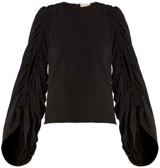 Roksanda Safiya Ruched Sleeve Silk Georgette Blouse - Womens - Black