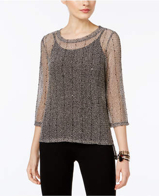 INC International Concepts I.n.c. Sequined Open-Knit Illusion Top, Created for Macy's