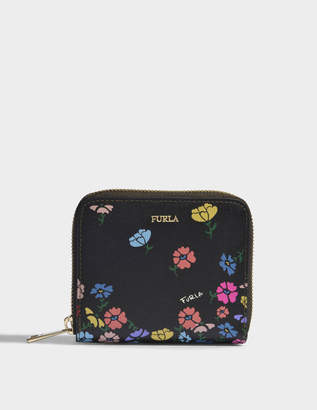 Furla Babylon Small Zip Around Wallet in Onyx Saffiano Leather