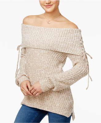 American Rag Off-The-Shoulder Lace-Up Sweater, Only at Macy's $59.50 thestylecure.com