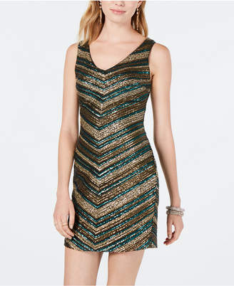 632e07e350c3 As U Wish Juniors  Chevron Sequin Bodycon Dress