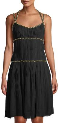 Moschino Chain-Trimmed Sleeveless Fit & Flare Dress