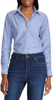 Chaps Petite Straight Trim-Fit Cotton Sateen Button-Down Shirt