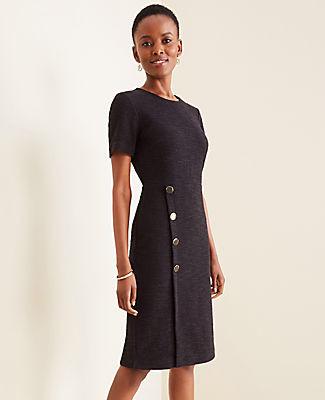 Ann Taylor Petite Textured Button Trim Sheath Dress
