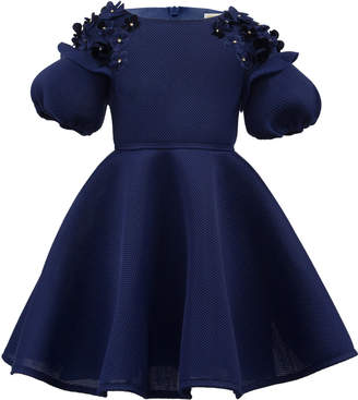 David Charles Mesh Techno Puffy-Sleeve Dress w/ 3D Flowers, Size 3-8