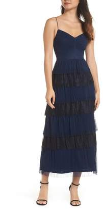 Adrianna Papell Crinkle Point d'Esprit Midi Dress