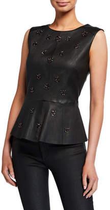Neiman Marcus Leather Collection Sleeveless Embellished Leather Peplum Top