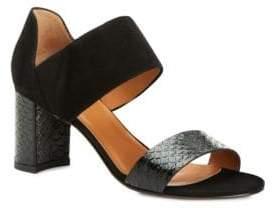 Aquatalia Suzanne Suede & Snake-Embossed Leather Block Heel Sandals