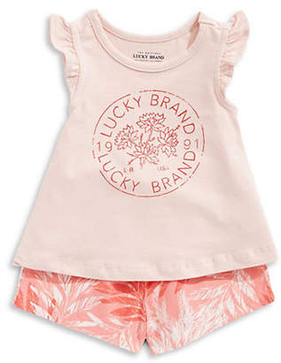 Lucky Brand Girl's Ruffled Cotton Top and Printed Shorts Set