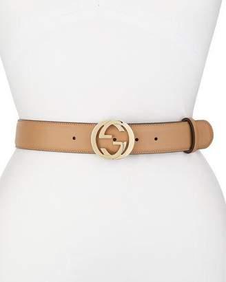 Gucci Wide Adjustable GG-Buckle Belt, Camelia