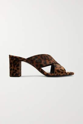 Saint Laurent Loulou Leopard-print Calf Hair Mules - Leopard print