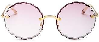 Chloé Women's Rose Scalloped Rimless Round Sunglasses, 60mm
