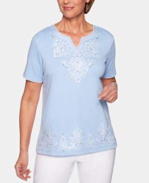 Alfred Dunner The Summer Wind Embroidered Split-Neck Top