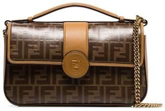 Fendi brown chain strap logo shoulder bag