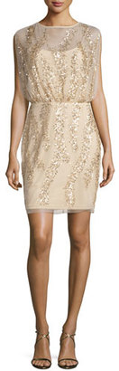 Aidan Mattox Sleeveless Embellished Tulle Cocktail Dress, Light Gold $295 thestylecure.com
