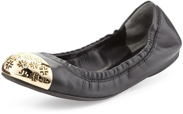Tory Burch Cami Logo-Toe Ballerina Flat, Black