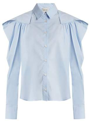 Rachel Comey Crescent Gathered Shoulder Cotton Shirt - Womens - Blue