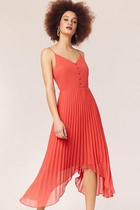 Oasis Coral Cami Button Pleated Midi Dress