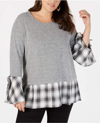 Style&Co. Style & Co Plus Size Bell-Sleeve Layered-Look Top
