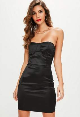 Missguided Black Satin Bustcup Bandeau Bodycon Dress