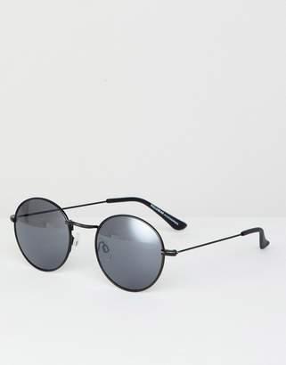 Pull&Bear Round Sunglasses In Black