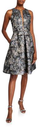 Theia Sleeveless Deep V-Neck Illusion Brocade Dress