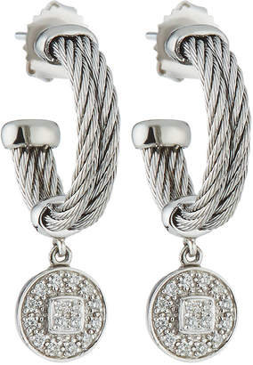 Alor Double-Cable Hoop Earrings w/ Diamond Drop