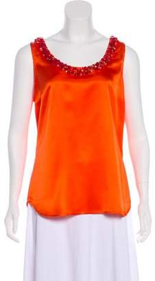 Pink Tartan Sleeveless Embellished Top